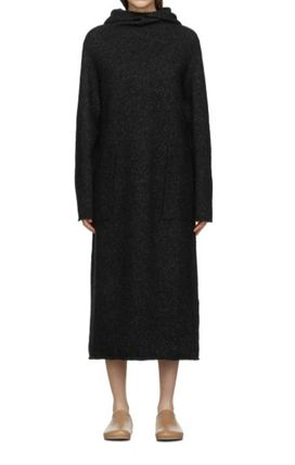 Casual Style Long Sleeves Plain High-Neck Dresses