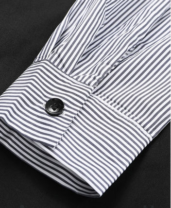 Stripes Casual Style Unisex A-line Blended Fabrics