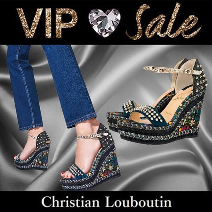 Christian Louboutin Madmonica Open Toe Casual Style Blended Fabrics Plain Party Style