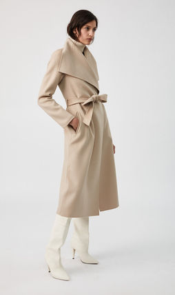 Formal Style  Wool Plain Long Party Style Elegant Style