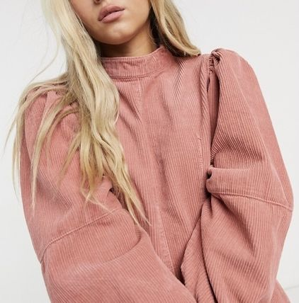 Casual Style Corduroy Cropped Plain Cotton High-Neck