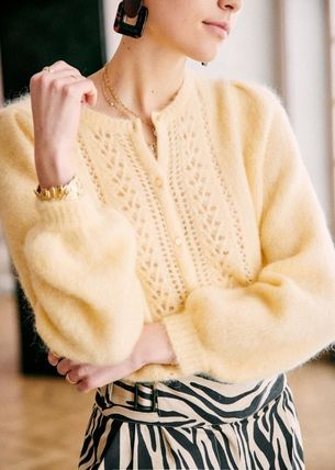 SEZANE Cable Knit Casual Style Wool Long Sleeves Plain Medium