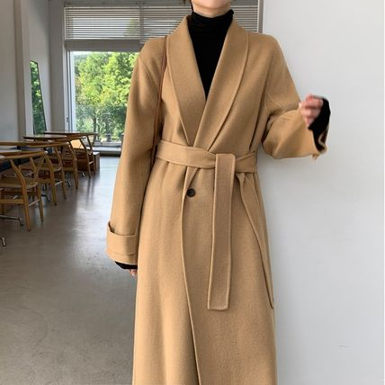 Casual Style Long Office Style Elegant Style Wrap Coats