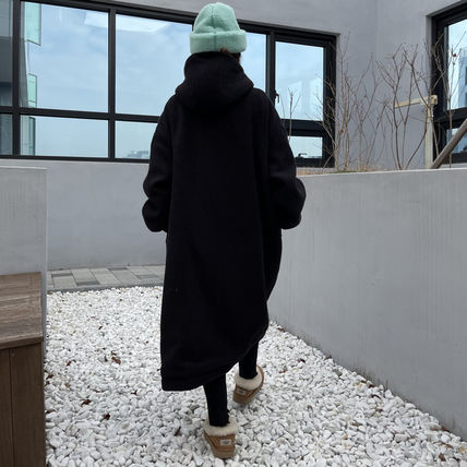 Casual Style Street Style Plain Long Shearling Outerwear