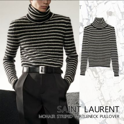 Saint Laurent Sweaters Pullovers Stripes Wool Nylon Street Style Bi-color