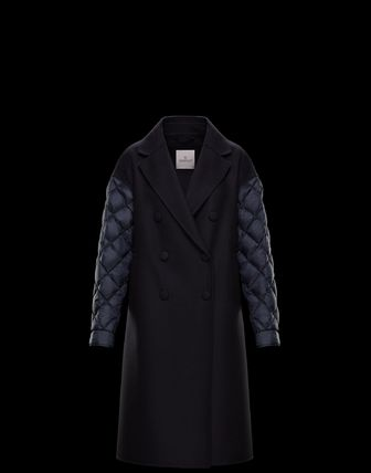 MONCLER Bridal Front Button Casual Style Wool Nylon Blended Fabrics