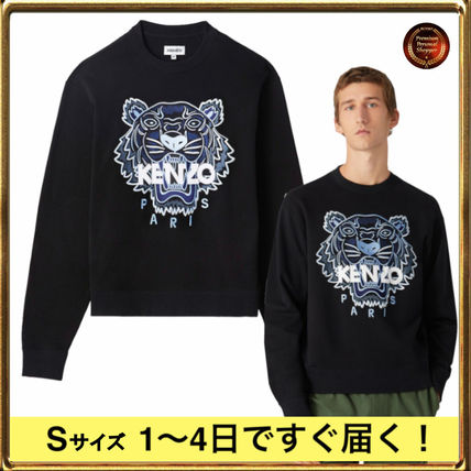 KENZO Sweatshirts Crew Neck Long Sleeves Plain Other Animal Patterns Cotton