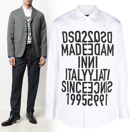 D SQUARED2 Shirts Button-down Street Style Long Sleeves Cotton Logo Luxury