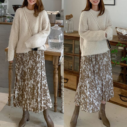 Leopard Patterns Pleated Skirts Long Maxi Skirts