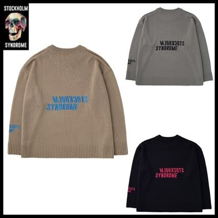 Street Style Long Sleeves Logo Sweaters