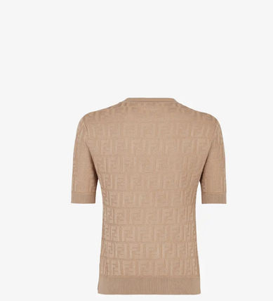 FENDI Crew Neck Cotton Short Sleeves Logo T-Shirts