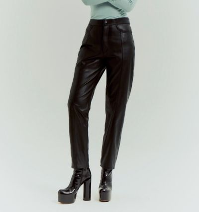 Plain Leather Long Leather & Faux Leather Pants