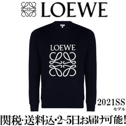LOEWE Sweatshirts Crew Neck Sweat Long Sleeves Cotton Logo Luxury Sweatshirts