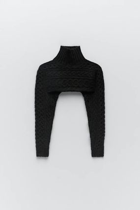 ZARA Cable Knit Long Sleeves Plain High-Neck Sweaters