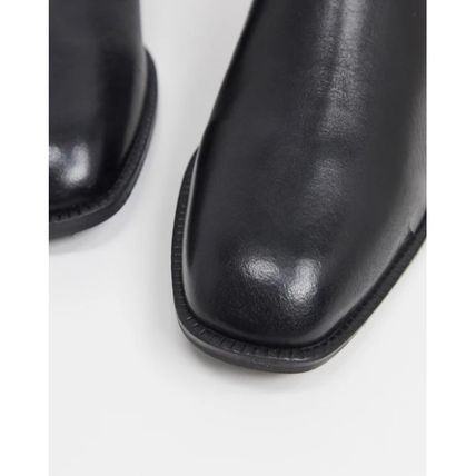 ASOS Round Toe Casual Style Plain Leather Chelsea Boots