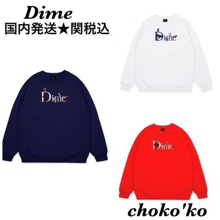 Dime Sweatshirts Crew Neck Pullovers Unisex Street Style Long Sleeves Plain