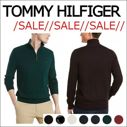 Tommy Hilfiger Sweaters Pullovers Long Sleeves Plain Cotton Logo Sweaters