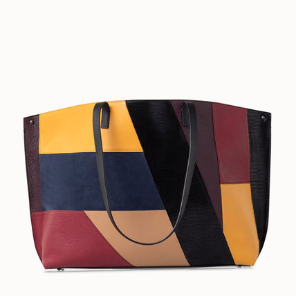 Casual Style Calfskin A4 2WAY Bi-color Leather Office Style