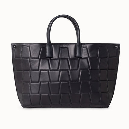 Casual Style Calfskin A4 2WAY Plain Leather Office Style