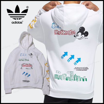 adidas Hoodies Unisex Street Style Collaboration Long Sleeves Plain Cotton