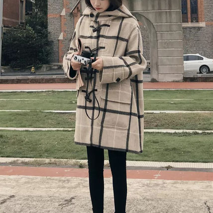 Other Plaid Patterns Casual Style Medium Duffle Coats