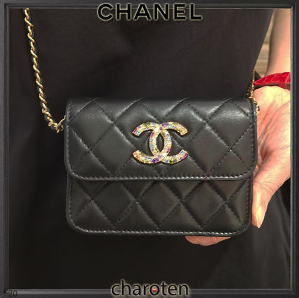CHANEL CHAIN WALLET Lambskin Chain Plain Leather With Jewels Folding Wallet