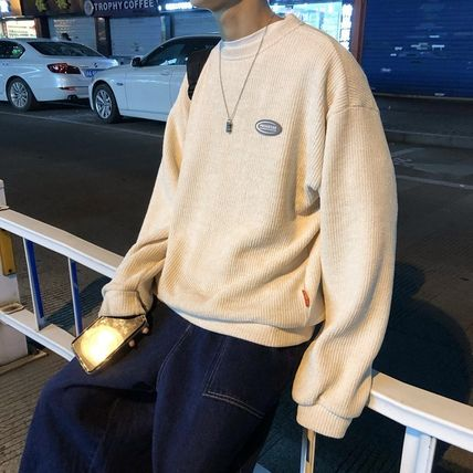 Crew Neck Cable Knit Pullovers Unisex Nylon Street Style
