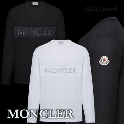 MONCLER Long Sleeve Crew Neck Long Sleeves Plain Cotton Logos on the Sleeves