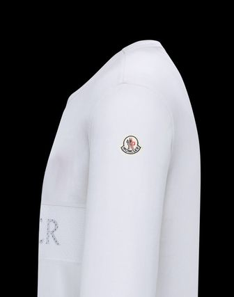 MONCLER Long Sleeve Crew Neck Long Sleeves Plain Cotton Logos on the Sleeves 4