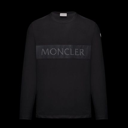 MONCLER Long Sleeve Crew Neck Long Sleeves Plain Cotton Logos on the Sleeves 5