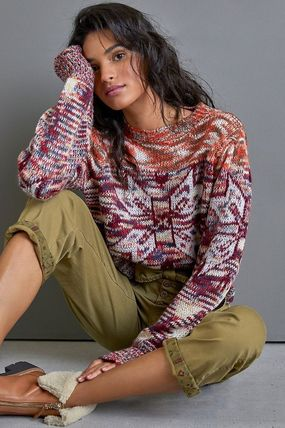 GREYLIN V-neck & Crew neck Crew Neck Casual Style Long Sleeves Puff Sleeves