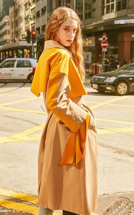 Casual Style Bi-color Long Office Style Trench Coats