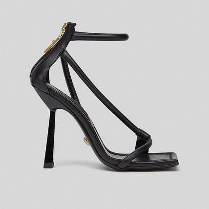 VERSACE Square Toe Casual Style Leather Pin Heels Party Style