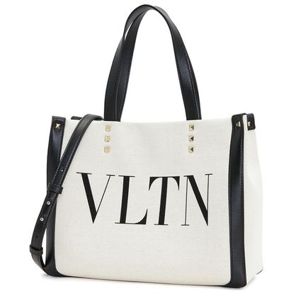 VALENTINO VLTN Logo Casual Style Unisex Totes