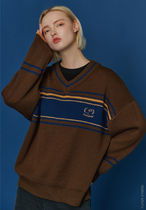 COMPAGNO Unisex Street Style Cotton Oversized Sweaters