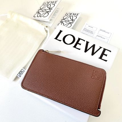 LOEWE Calfskin Plain Leather Logo Card Holders