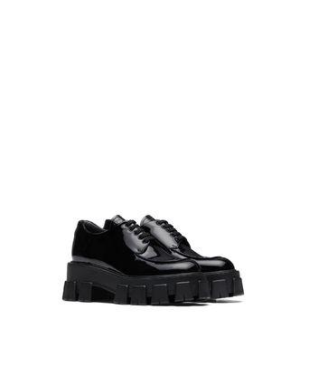 PRADA Monolith Patent Leather Lace-Up Shoes
