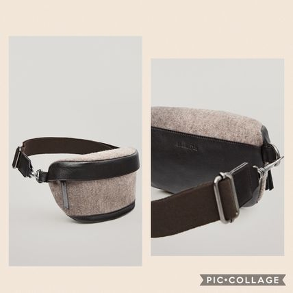 Casual Style Plain Leather Hip Packs