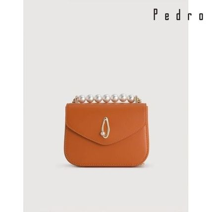 Pedro 2WAY Chain Plain Leather Party Style With Jewels Crossbody