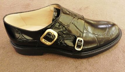 TOD'S Plain Toe Monk Casual Style Plain Leather Office Style