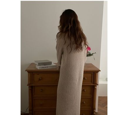 Casual Style Tight Wool Long Sleeves Plain Long Party Style