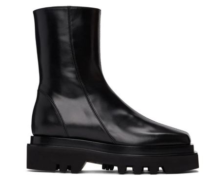 Rubber Sole Casual Style Plain Leather Mid Heel Boots