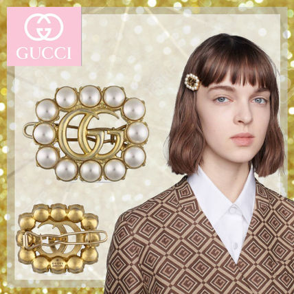 GUCCI Pearl Double G Hair Slide