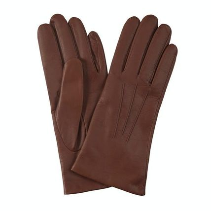 Cashmere Plain Leather Leather & Faux Leather Gloves