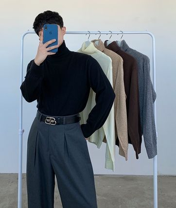 HUE Wool Cashmere Street Style Collaboration Long Sleeves Plain