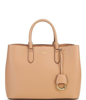 Ralph Lauren Casual Style A4 2WAY Plain Leather Party Style Office Style