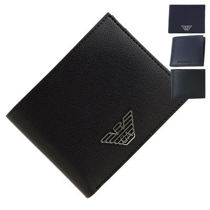 Unisex Street Style Plain Leather Folding Wallet Logo