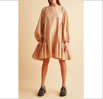 Casual Style A-line Flared U-Neck Boat Neck Long Sleeves