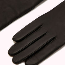 Lulu Guinness Plain Leather Logo Leather & Faux Leather Gloves