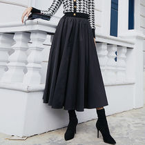 Flared Skirts Casual Style Maxi Circle Skirts Plain Cotton